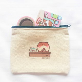 Cat の fish tank dinner daily canvas coin purse (ticket clip) hand-printed Coin bag