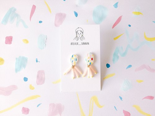 Multicolored small octopus hand-painted hand earrings