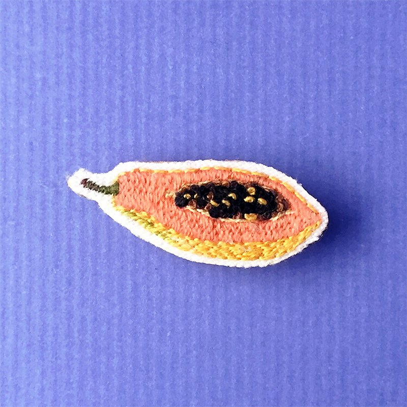 Mini Hand Embroidered Brooch / Pin Red Meat Papaya Papaya