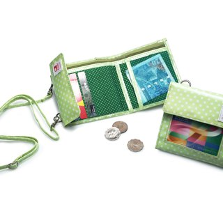 Mizutama travel Allowance wallet with hang strap - Green