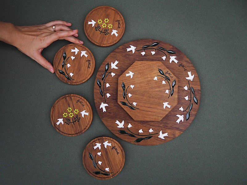 Lily of the Valley Teak Trays and Coasters Set