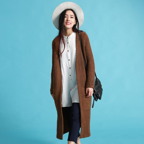 Annie Chen 2016 spring new female long-sleeved sweater dark camel wool coat long cardigan sweater female literary