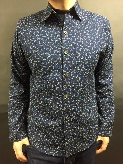 Long-sleeved shirt Japanese Pattern (dragonfly A pattern) navy blue