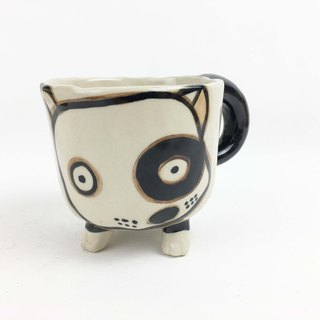 Nice Little Clay Handmade Dog Foot Cup Black Wheel Dog 0115-03
