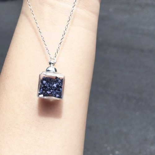 [925 Silver] Gothic Purple Glass Cube Necklace
