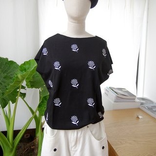 Printed black non-trimmed cotton T-shirt T-shirt - imakokoni