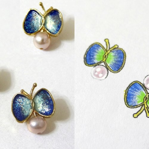 chiching handmade enamel jewelry series Secret Garden Butterfly Earrings