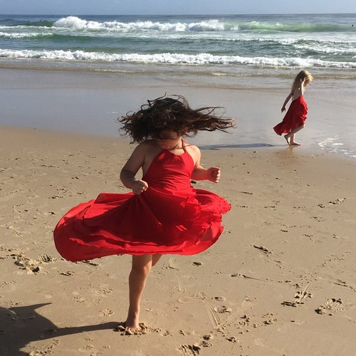 Girls Scarlet Party Flamenco Dress in Red 1-2