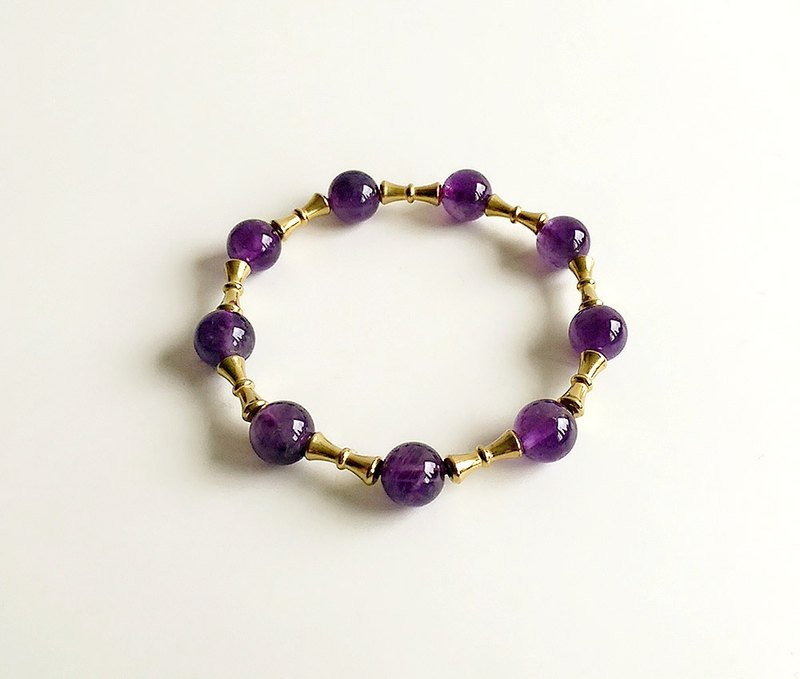[Gemstone series] hand for natural ore amethyst brass small bracelet