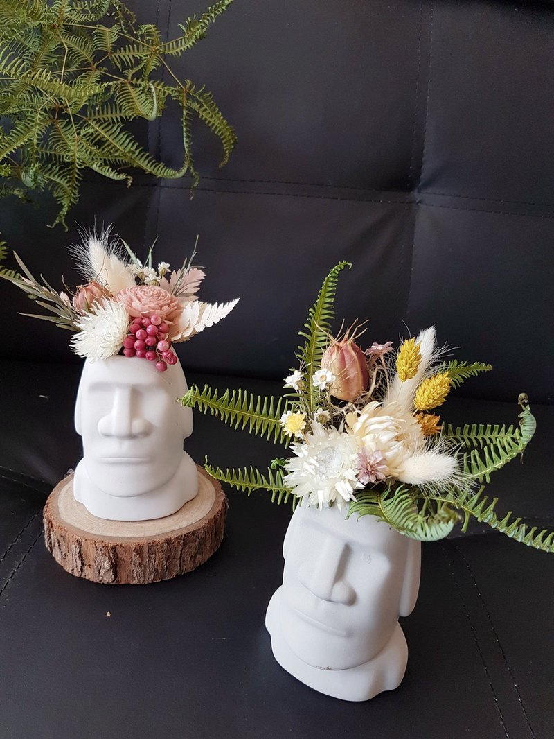 海藏設計│春夏風。復活島摩艾也要換新裝。乾燥花盆栽