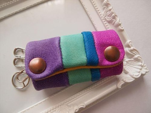 [Pig leather soft key case multi-color leather 15280017
