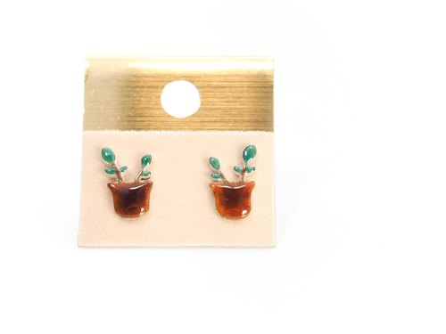"""Ping Design"" earrings enamel pot"