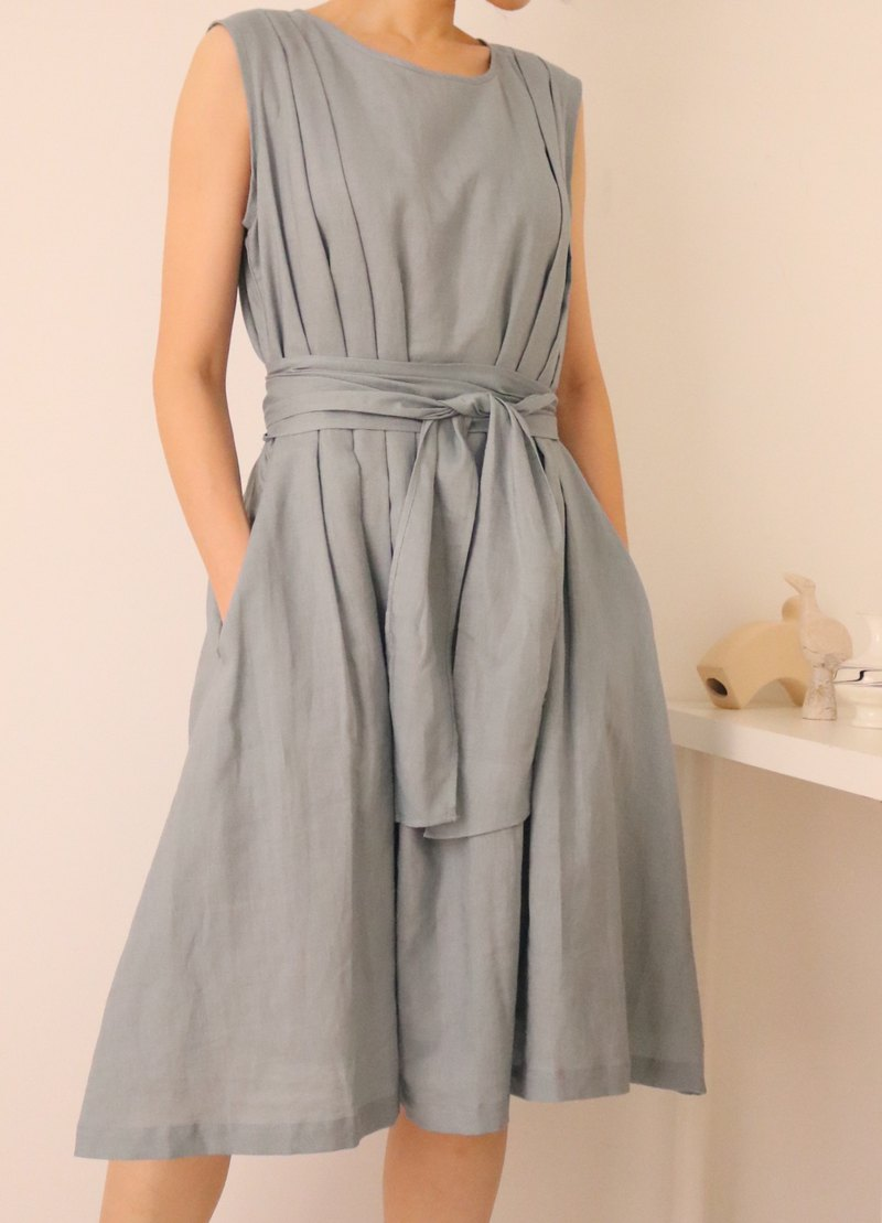 Etude Dress blue gray sleeveless linen summer wedding micro dress (can be customized for other colors)