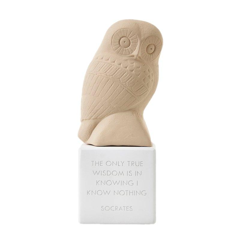 古希臘 貓頭鷹擺飾 Wise Owl (赭) - 手工陶製雕像
