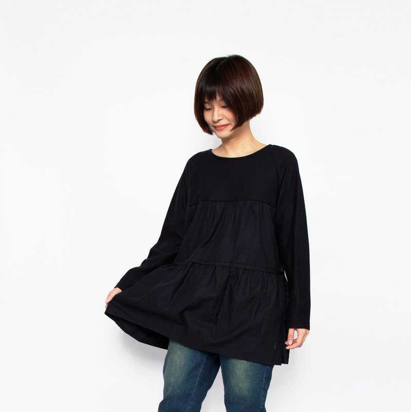 Earth_Yelin Creek Drop Double-layer Fine Pleated Splicing Top