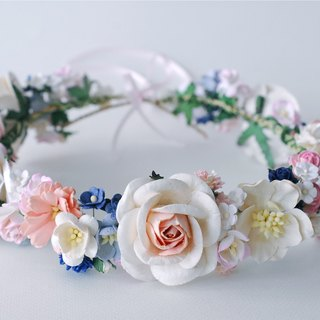Paper Flower, Crown, Headband, Wedding, pink, soft pink, cream, blue and white Color. ADUlT SIZE.