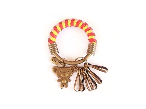 [Na UNA- excellent hand-made] key ring (small) 5.3CM burgundy + pink + red + bright yellow + Winnie the hand woven wax rope hoop customization