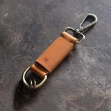 Personalized Initial Leather Keychain / Caramel