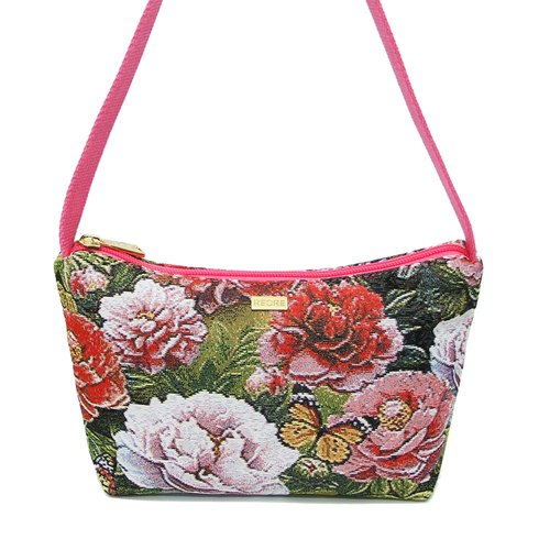 Retro texture painting Peony Jacquard crescent shoulder bag pink -REORE