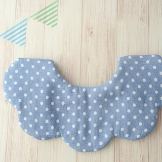 Baby Bib, Scalloped, Blue Polka Dots, Reversible, Cute Design, Japanese Fabric