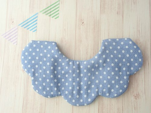 Baby Bib,Scalloped,Blue Polka Dots,Reversible,Cute,Unique Design