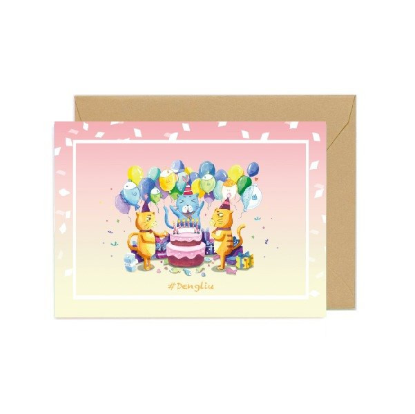 Dengliu Greeting Card Birthday Card Cat Happy birthday