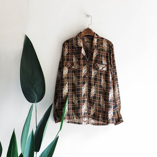 Kawamiyama - Kagoshima Flower Gold Buckle Wheat Peace Plaid Antique Silk Shirt Shirt Shirt oversize vintage