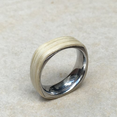 White maple square steel ring