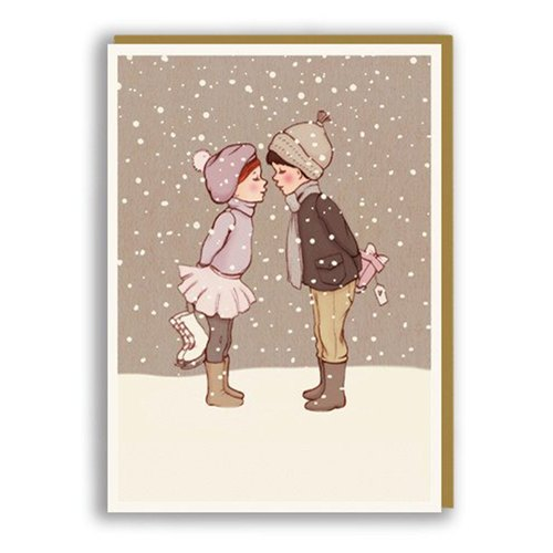 Christmas / Christmas card snow in winter 1973- lovers kiss