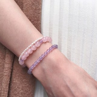 [Ofelia.] Natural Stone Series - Natural Powder Crystal x Lavender Amethyst Bracelet [J94-Marie] Crystal / Natural Stone / Peach Blossom