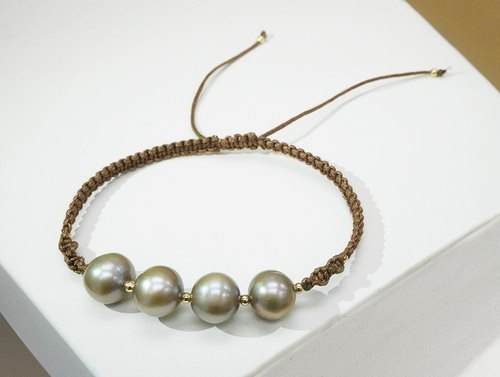 Edith & Jaz • Bronze Freshwater Pearl with Brown Cord Bracelet