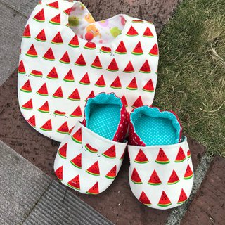 To a piece of watermelon! Miyue gift box toddler shoes + double bib