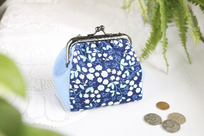 [Small Floral Blue] Gold Bag / Coin Purse Black Nickel Gold Bag Storage Bag / Square Gold