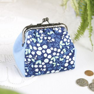 [Small floral fresh blue] mouth gold bag / purse black nickel gold bag storage bag / square mouth / hand made
