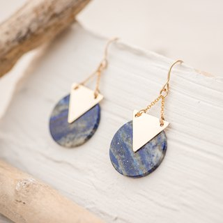 GREECE earrings with natural Lapis Lazuli in 14k gold filled, pendant earrings