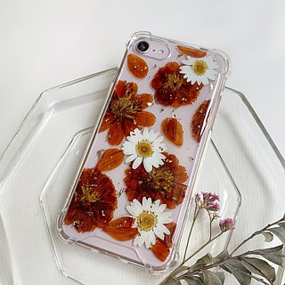 Cosmos happy forever:: Gold foil dry flower phone shell air pressure shell flower gift