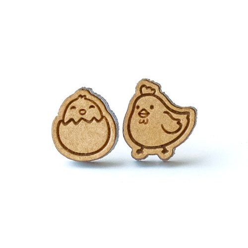 Plain wood earrings-chicken&egg(Two random)