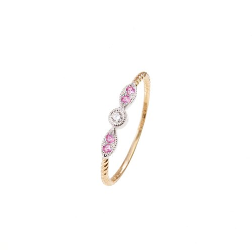 18K gold hand detail pink gemstone diamonds retro style refers to