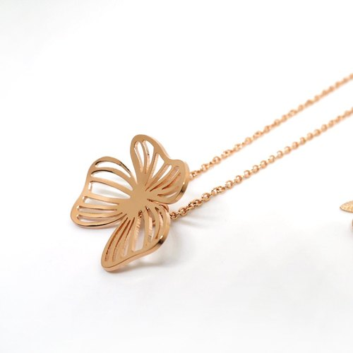 Flower necklace - Pink gold plated on brass