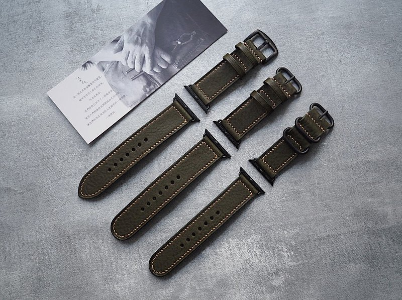 Handmade leather tumbled olive green apple Applewatch strap color style can be customized and lettering