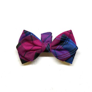 Handmade Tartan/Plaid Pet Dog Collar Accessory-Bowtie - Elegant Purple【ZAZAZOO】