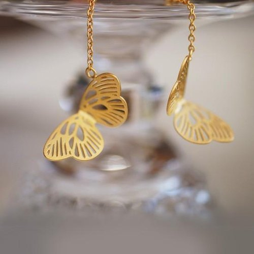 Flickering feather earrings (gold) - pairs -