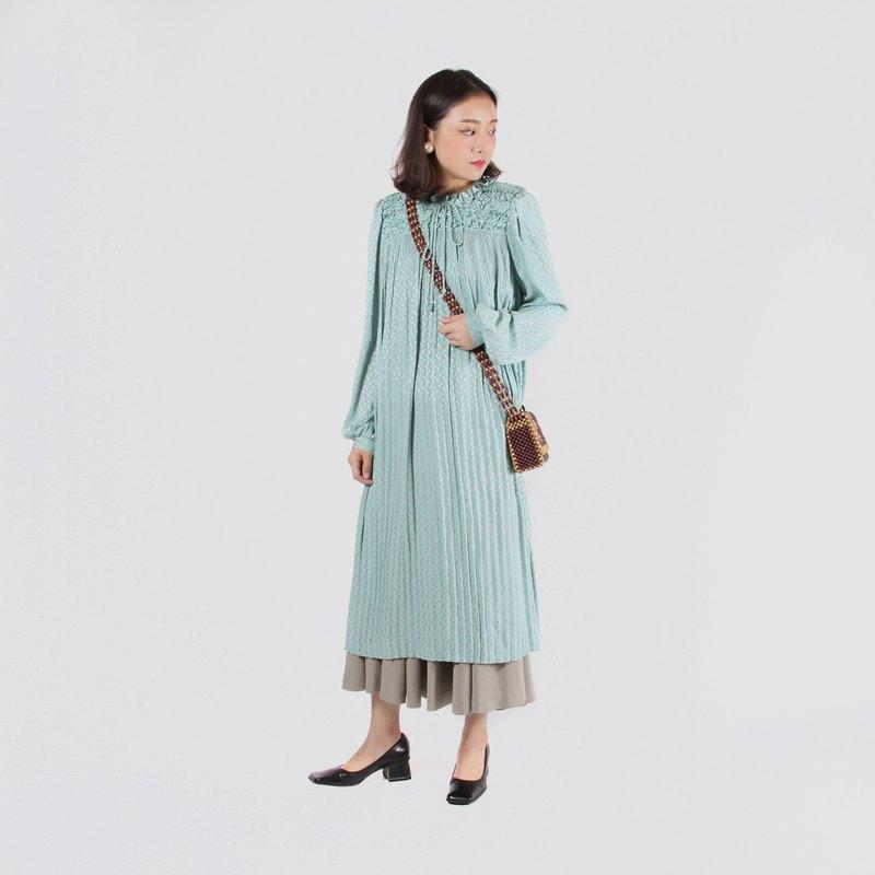 【蛋植物古着】清風花穗緞面寬鬆古著洋裝