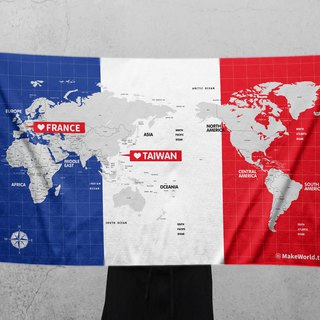 Make World Map Manufacture of Sports Bath Towels (France)
