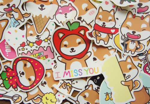 [Mangogirl] Shiba Inu Stickers Graffiti waterproof small group (optionally 7)
