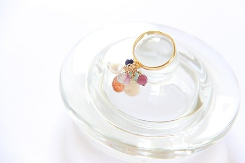 Colorful natural semi-precious stones ring Multi semi precious stones ring