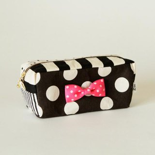 box cube pouch dots borders stripes black pink ribbon brooch Sencond