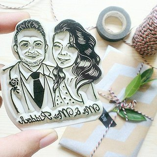 COUPLE portrait hand carved rubber stamp free shipping