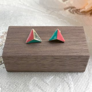 Mini Pocket Color Triangle Antique Earrings BKA080