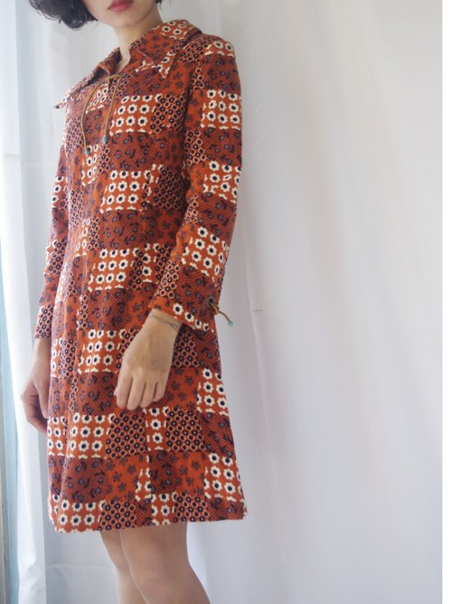 4.5studio- treasure hunt -60's vintage style corduroy saturated orange flowers hippie dress